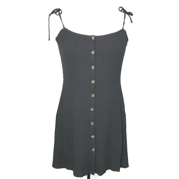 Topshop Dresses & Skirts - Topshop Black Ribbed Button Up Dress A080201